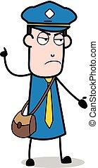 carteiro, mensageiro, ilustração, falando, vetorial, sujeito, caricatura, rudely-