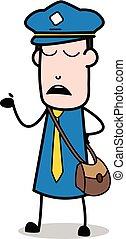 carteiro, mensageiro, -, ilustração, ignorando, vetorial, ...
