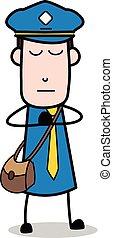 carteiro, mensageiro, -, ilustração, vetorial, oração, sujeito, caricatura