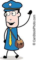 carteiro, mensageiro, -, ilustração, vetorial, sujeito, ...