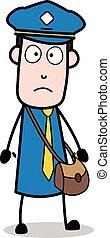 carteiro, mensageiro, -, ilustração, vetorial, sujeito, assustado, caricatura