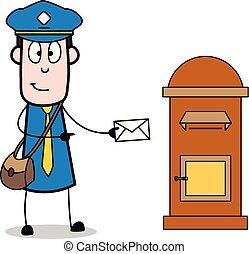 carteiro, mensageiro, mensagens, mostrando, -, ilustração, vetorial, retro, sujeito, caricatura