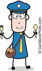 carteiro, mensageiro, mostrando, -, ilustração, colheres, vetorial, retro, sujeito, caricatura