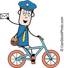 carteiro, mensageiro, mostrando, -, ilustração, vetorial, retro, letra, sujeito, caricatura