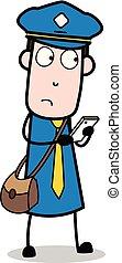 carteiro, mensageiro, pensando, -, ilustração, enquanto, vetorial, messaging, sujeito, caricatura