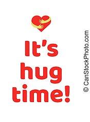 cartel, abrazo, él, tiempo
