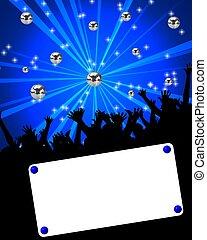 cartel, acontecimiento, bailando