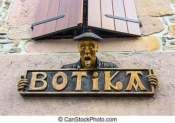 cartel, altes , apotheke, in, baske