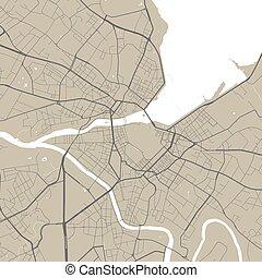 cartel, arte, illustration., calle, vector, mapa, geneva.