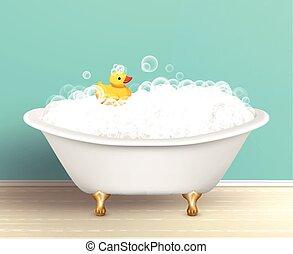 cartel, bañera, espuma