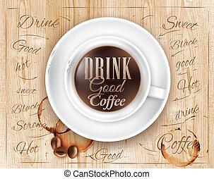 cartel, café, madera, desván, taza
