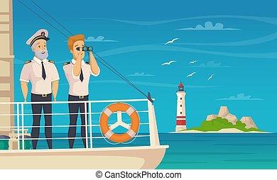 cartel, capitán de la nave, caricatura, tripulación