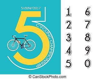 cartel, carrera, diseño, ciclismo