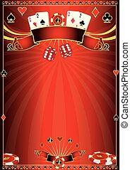 cartel, casino, rojo