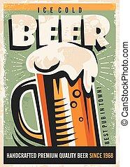 cartel, cerveza, diseño, retro