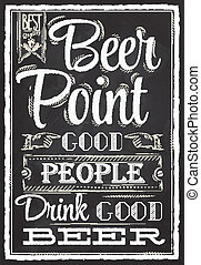 cartel, cerveza, punto, tiza