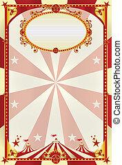 cartel, cima, crema, rojo, grande