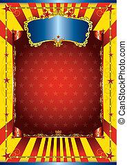 cartel, circo, feliz