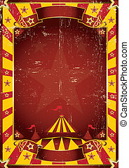 cartel, circo, sucio, amarillo