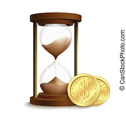 cartel, coins, reloj de arena