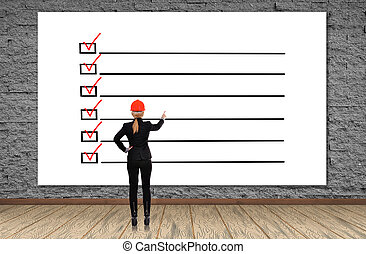 cartel, con, lista de verificación