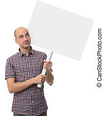 cartel, concept., tenencia, blanco, demostración, hombre