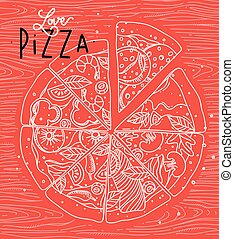 cartel, coral, amor, pizza