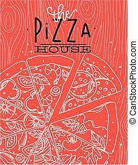 cartel, coral, madera, pizza