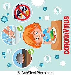 cartel, coronavirus, obteniendo, enfermo, cómo, prevenir, ...