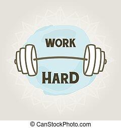 cartel, de motivación, dumbbell