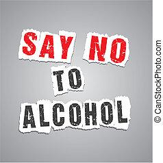 cartel, decir, alcohol, no