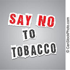 cartel, decir, tabaco, no