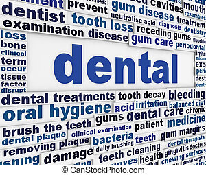cartel, dental, diseño, médico