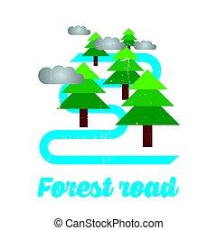 cartel, diseño, bosque, camino