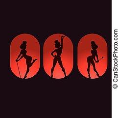 cartel, diseño, cabaret, silueta, burlesco