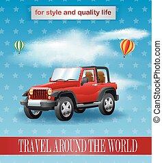 cartel, diseño, jeep, vendimia