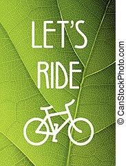cartel, ecología, bicicleta, illustration.