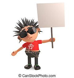 cartel, eje de balancín del punk, blanco, enojado, el suyo, ilustración, protests, 3d