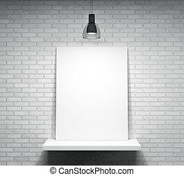 cartel, en, el, estante, encima, el, pared ladrillo