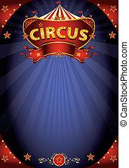 cartel, fantástico, circo, noche