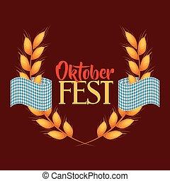 cartel, fest, oktober, invitación