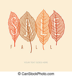 cartel, hojas, otoño, venta, secado