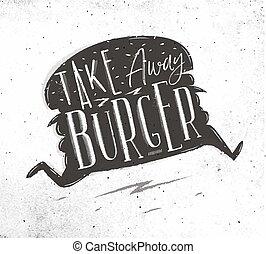 cartel, lejos, toma, hamburguesa