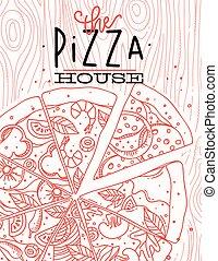cartel, madera, pizza
