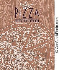 cartel, madera, pizza, marrón