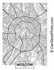 cartel, moscú, vector, mapa, ciudad