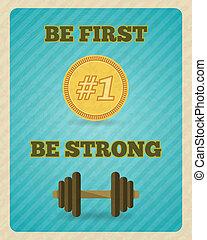 cartel, motivación, fuerza, ejercicio, condición física
