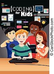 cartel, niños, codificación