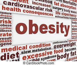 cartel, obesidad, diseño, médico