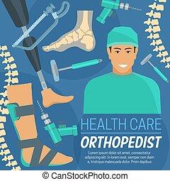 cartel, ortopédico, orthopedist, prosthetic, artículos